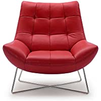Medici Tufted Leather Modern Accent Chair - Red