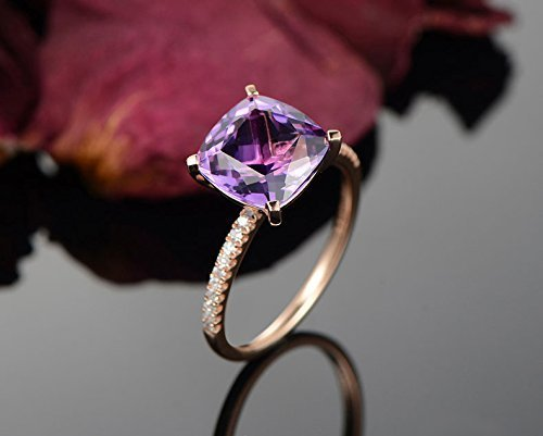 Solid 18k rose gold promise ring,0.15ct SI-H Diamond Engagement ring,3.5ct Natural Princess (3.5 Ct Diamond)