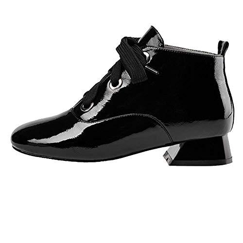 Dentelle Cuir Tête Zqzq Chaussures Bottillons Femmes Ronde Black Pour Portable wqZqA7