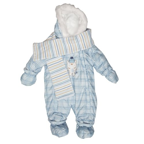 Zip Zap Baby's Blue Hooded Snowsuit With Detachable Booties & Mittens & Scarf