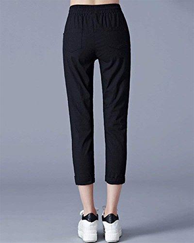 Slim Con Coulisse Coulisse Unique Con Pants Elastico Tasche Classiche Pantaloni Casual Nero Monocromo Fit Elegante High Con Pantalone Donna Donne Waist wZ07ZPq8