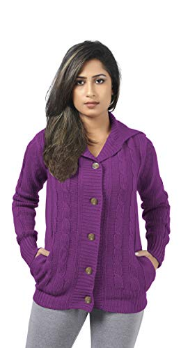CutyFashion Women's 100% Acrylic Knit Open Front Button Fashionable Cardigan Sweater Coat.(M, Purple Red) from CutyFashion