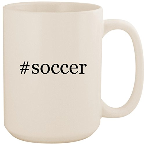 #soccer - White Hashtag 15oz Ceramic Coffee Mug Cup (Fifa 02 Gamecube)