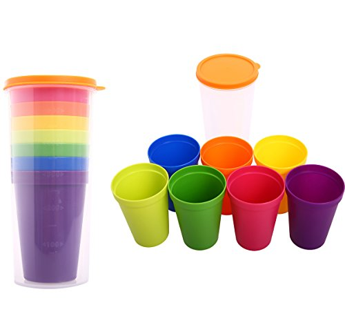 Everyday Cups Set Assorted 8 Colors 12oz BPA Free Reusable Plastic Tumblers Rainbow Cups Set