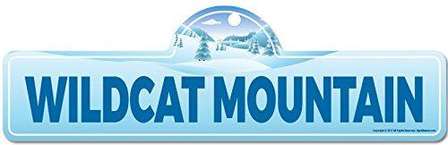 SignMission Wildcat Mountain Street Sign | Indoor/Outdoor | Skiing, Skier, Snowboarder, Décor for Ski Lodge, Cabin, Mountian House personalized gift (Wildcat Ski)