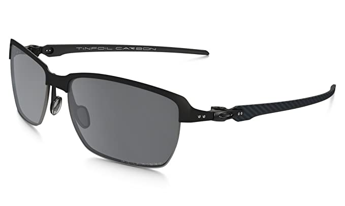 Oakley Mens Tinfoil Carbon Polarized Iridium Rectangular Sunglasses, Satin Black, ...