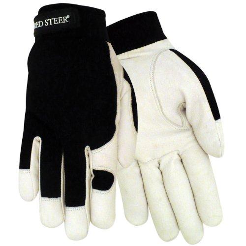 Black//Camo Medium Red Steer Ironskin 168-M Premium Synthetic Leather Mechanics Style Glove PRICE is per PAIR