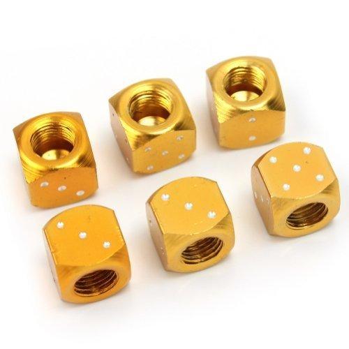 6 Pcs dorado Dados bici coche/camión neumático/rueda Tallo tapones para válvula de aire Set Nuevo nabati