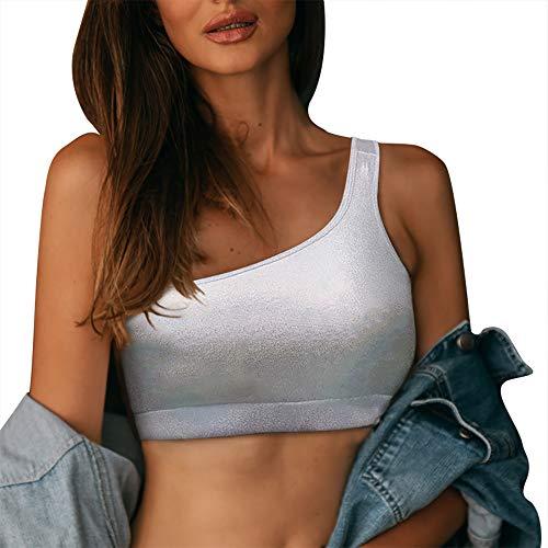 HAHASOLE One Shoulder Sports Bra Women's Workout Sports Bras Sexy Medium Support (L) White