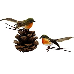 Yolococa Very Cute Artificial Feather Robin Bird Christmas Tree Decoration Craft 4