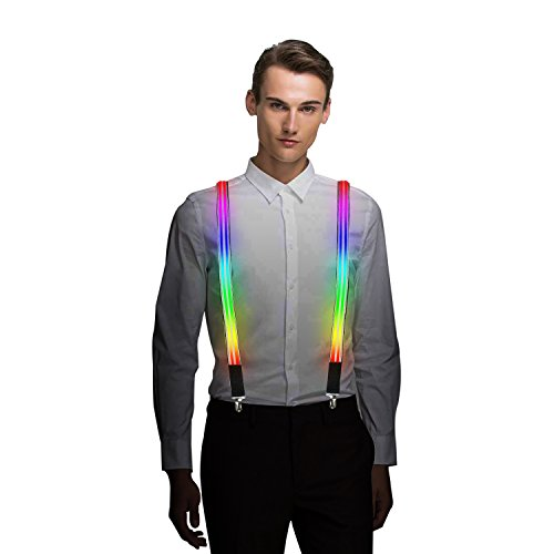 Light Up LED Suspender Double Stripe One-size for Party Concert Men&Women - Rainbow