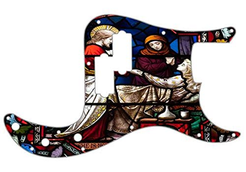 Custom Graphical Pickguard to fit Fender P Bass Precision Bass Stained Glass Window