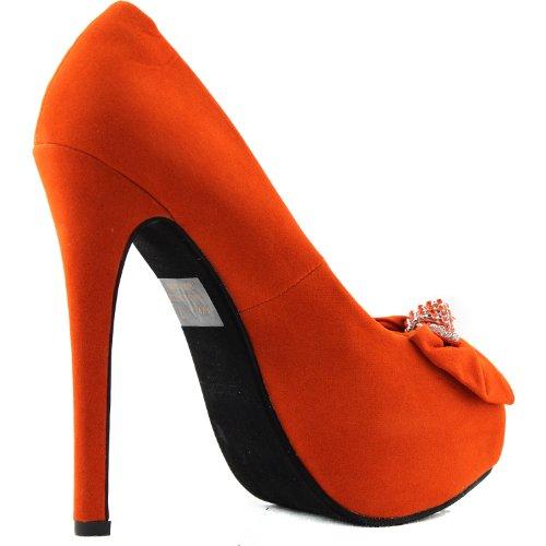 Scarpe Da Donna Piattaforma Aperta Peep Toe Stiletti Tacchi Alti Accento Farfalla Vestito Scarpe Moda Arancione