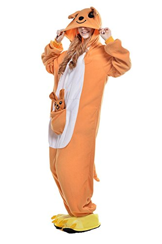 BELIFECOS Unisex Adult Pajamas Plush One Piece Cosplay Animal Costume (L,Kangaroo)