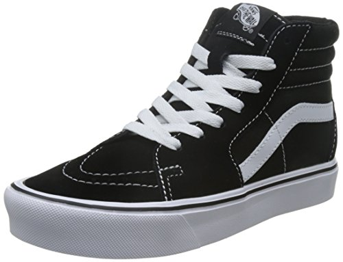 (Vans Unisex Sk8-Hi Light (Suede/Canvas) Black/White Skate Shoe 10 Men US / 11.5 Women US)