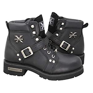 Xelement 2469 Womens Black Advanced Lace Up Motorcycle Biker Boots - 8 1/2