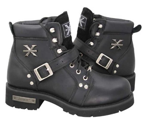 Xelement 2469 Womens Black Advanced Lace Up Motorcycle Biker Boots - 10