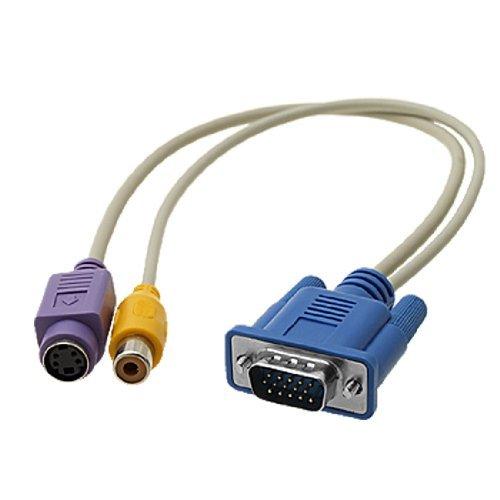 Amazon.com: Ordenador PC portátil 15 Pin VGA a TV S-Video / RCA AV OUT adaptador convertidor de cable: Computers & Accessories
