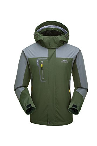KISCHERS Rain Jacket, Men's Waterproof Jackets with Hood, Outdoor Raincoat, Windproof Softshell Jacket for Hiking
