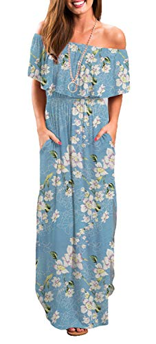 (Womens Off Shoulder Floral Casual Print Summer Long Maxi Dresses Light Blue XS)