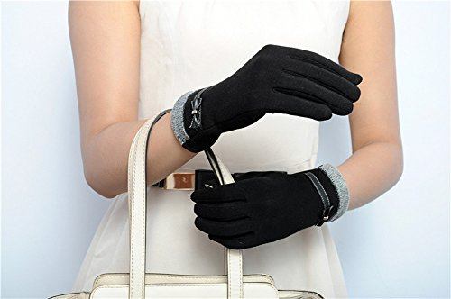 Women's Winter Gloves Touchscreen Texting Glove Fleece Lining Show Thin Black,,One Size by Kitten Fashion (Image #2)