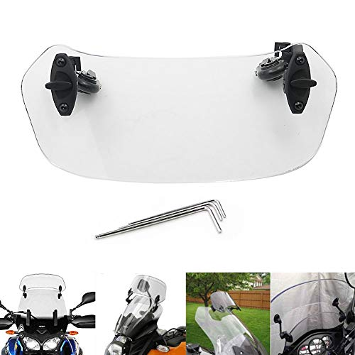 Motoparty Adjustable Windshield Extension Spoiler Windscreen Air Deflector For Honda Suzuki Kawasaki Yamaha BMW Harley Buell Triumph Ducati Aprilia,Suitable for any bike with a windscreen (210mm)