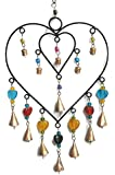 Handmade Heart Wind chimes Wrought Iron Outdoor with Rustic Metal bells fr Garden and Patio Home décor for Summer Spring
