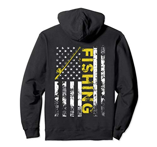 American Flag Fishing Rod USA Patriotic Hoodie (Fishing Rod Large)