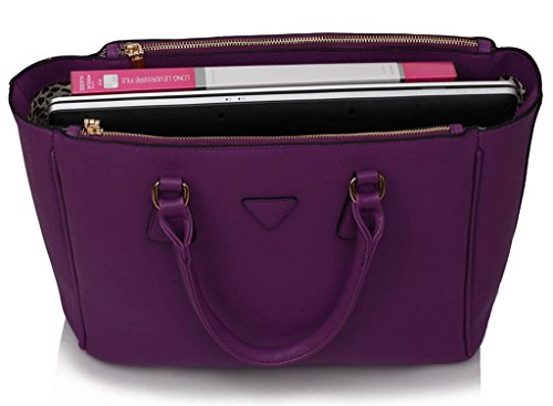 LEESUN LONDON - Bolsa mujer, color gris, talla Large Morado bolso