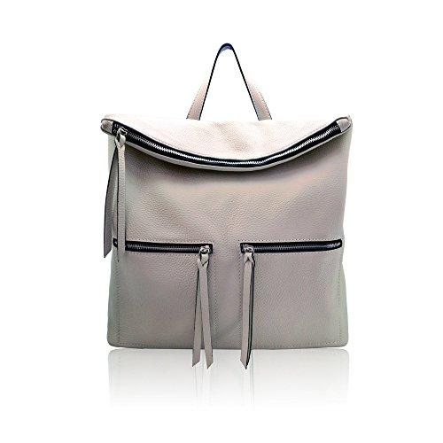 WHITNEY Bolsa mochila saco de mujer hombre italiana con solapa con cremallera de cuero de textura suave gris