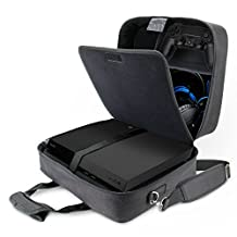 USA GEAR Sony PlayStation 4 Pro / PS4 Pro 4K Travel Case Carrying Bag with Controller , Games , Headset , Accessories Storage Compartments and Adjustable Padded Shoulder Strap