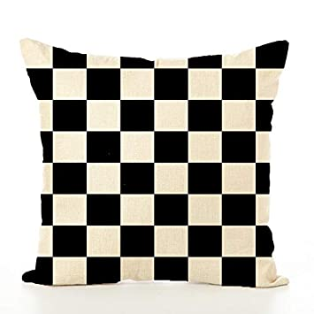 Tcoome Checkered Pillow Decorative Pillow Covers Black and Linen Checkered Throw  Pillow Cases Cotton Linen Square 67b70b0d5