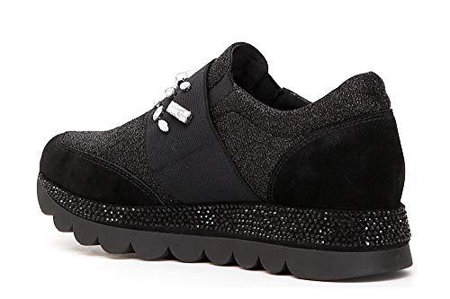 Noir EN con Pantofola Y Nero Rhinestones 010 Crust ELÁSTICO Y Cafè JDB933 Tejido Sneakers AxnA4g