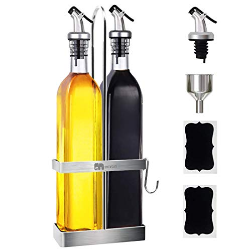 GMISUN Olive Oil Dispenser Bottle 17oz Clear Glass Olive Oil Bottles W/Stainless Steel Rack Holder - Oil and Vinegar Dispenser Set for Kitchen Cooking - Drip Free Spouts, Funnel and Labels, 2 Pack