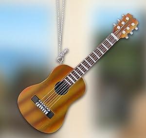 Hanging guitar ornament decoration brown for Acoustic guitar decoration ideas