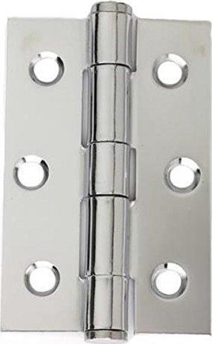 Intelligent Hardware Polished Chrome Button Tip Hinge 75mm x 50mm | Pack of 3 - Intelligent Hardware