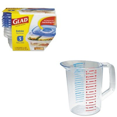 KITCOX60795PKRCP3216CLE - Value Kit - Glad GladWare Plastic Square Containers with Lids (COX60795PK) and Rubbermaid-Clear Bouncer Measuring Cups 1 Quart ()