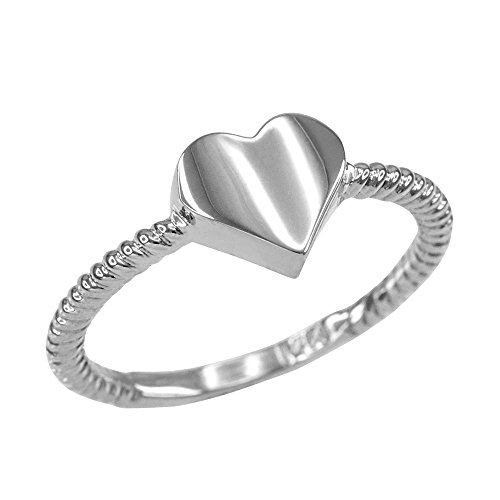 Gold Twisted Rope 14k (High Polish 14k White Gold Twisted Style Rope Band Heart Ring (Size 7))