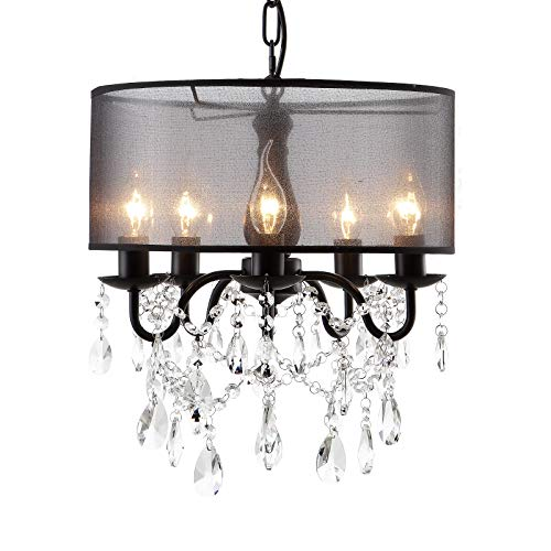 """SEOL-LIGHT Wrought Black 5 Lights Crystal Branch Chandeliers with Drum Shade Hanging Pendant Light for Dinning,Bedroom 200W 15.8""""Dia"""