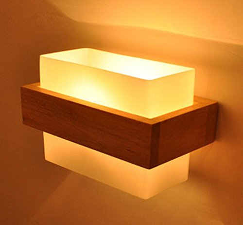 DGS Glass E27 Modern Led Pull-Type Wall Lamp Creative Bedside Lamp Hotel Project Solid Wood Primary Color Bedroom Wall Lamp (215 160 120Mm) (Drop Rust Tuscany Pulls)