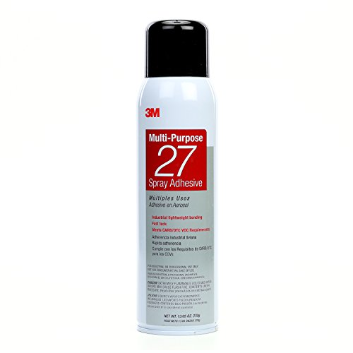 3M Multi-Purpose 27 Spray Adhesive Clear, 20 fl oz can, net weight 13.05 oz (Pack of 1)