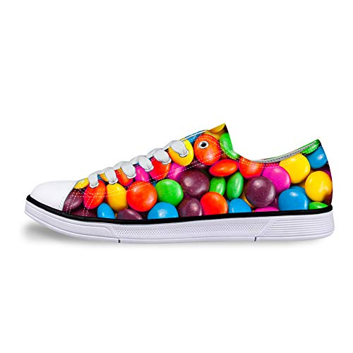 Low-end Anti-Slip Casual Sneakers 3D Design Canvas Shoes with Colorful Chocolate for Men Women. -