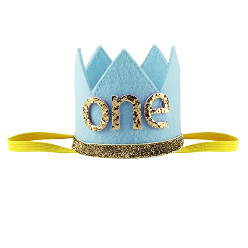 dPois Infant Unisex Baby Boys Girls' First 1st/2nd Birthday Party Crown Cake Smash Photo Prop Pictures Hat Blue ONE One Size