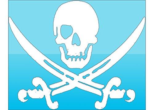 White Pirate Skull & Swords Vinyl Decal Transfer - Jolly Roger Bumper Stickers -...
