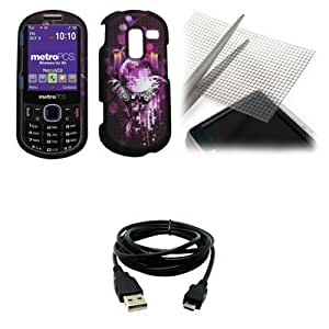 Disco Ball Purple Design Snap-On Cover Case + Universal Screen Protector + USB Data Cable for Metro PCS Samsung Messager III R570