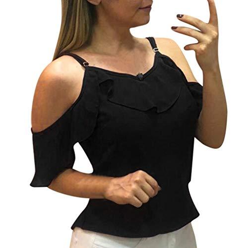 (iCJJL Women's V Neck Sleeveless Cold Shoulder Spaghetti Strap Flounce Vintage Camisole Tank Tops Blouse Black)