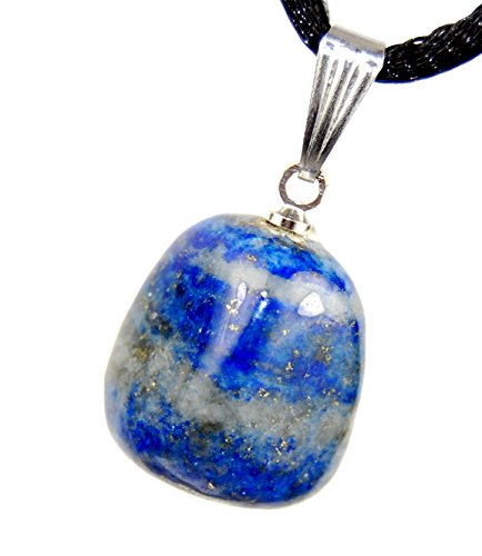 Steampunkers USA Miner's Horde - Tumbled Nuggets Lapis Lazuli 12-20mm, Blue Golden Pyrite - 20-22 inch Black Cord - Crystal Gemstone Carved Necklace Charm Handmade ()