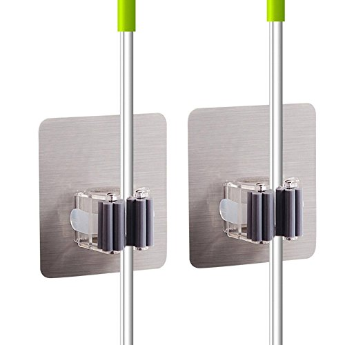 LovenCity 2Pcs Self Adhesiv Broom and Mop Holder, Reusable Wall Mounted Mop Hooks Broom Hanger Holder with Spring Clip Design (Black)