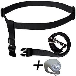 Running Dog Leash Hands Free – Including LED Light. Great for Walking, Running, Biking and Jogging (Black).