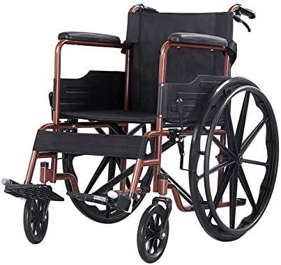 車椅子 自走式車椅子 折りたたみ製鉄 車椅子 折りたたみ車椅子 (Color : Brown)